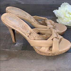CHARLES DAVID Nude Tan Knotted Cork Heels size 8B